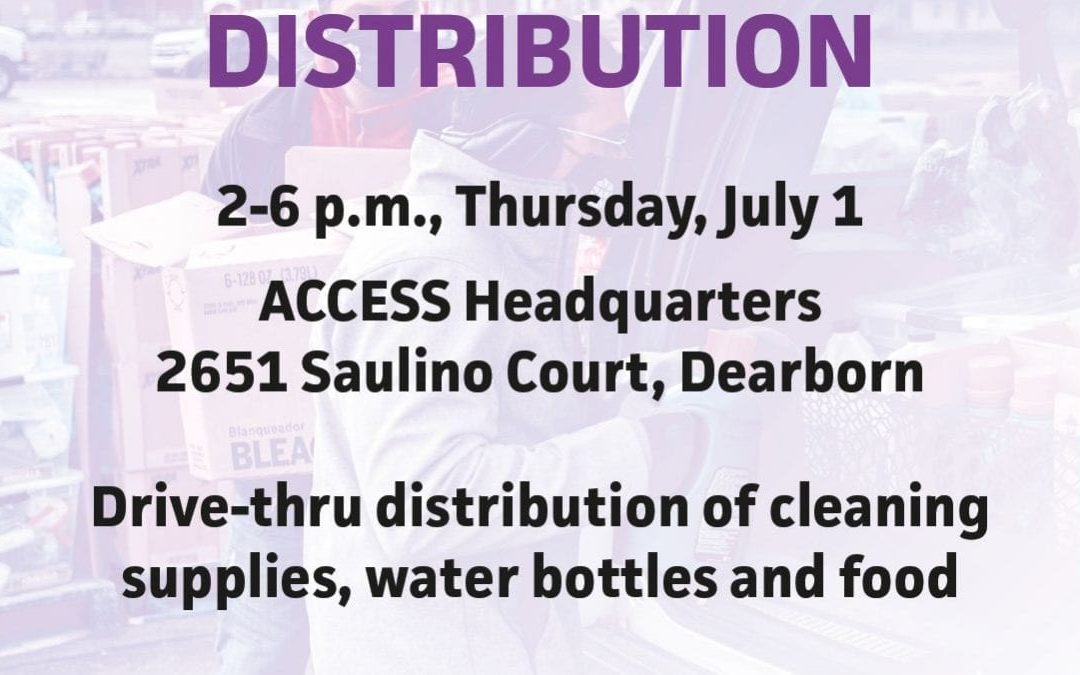 Food, Water and Cleaning Supplies Distribution Today at July 1st from 2-6PM