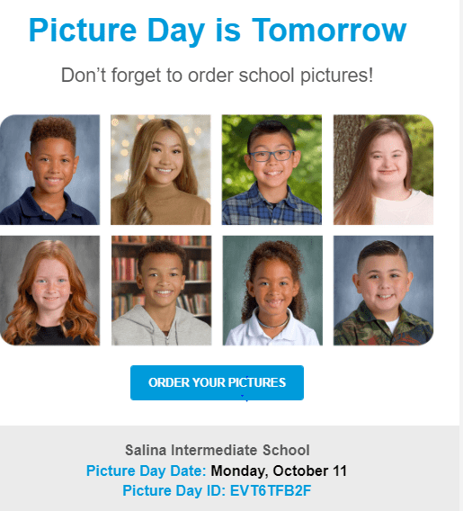 Picture Day Tomorrow (Monday October 11)